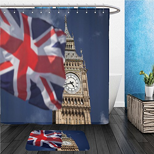 Beshowereb Bath Suit: ShowerCurtian & Doormat British union jack flag and Big Ben Clock Tower at city of westminster in the background UK votes to leave the - City Macys Union