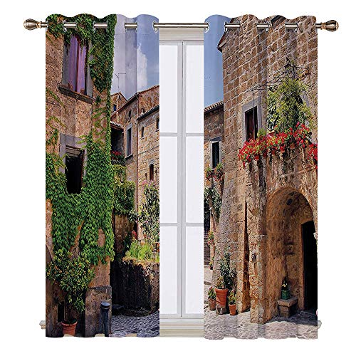 SATVSHOP Grommet Light Blocking Window Treatment for Bedroom Decor 2 Panels Set- 72W x 96L Inch- Farm House Italian Streets in Countryside with Traditional Brick Hous Old Tuscan.