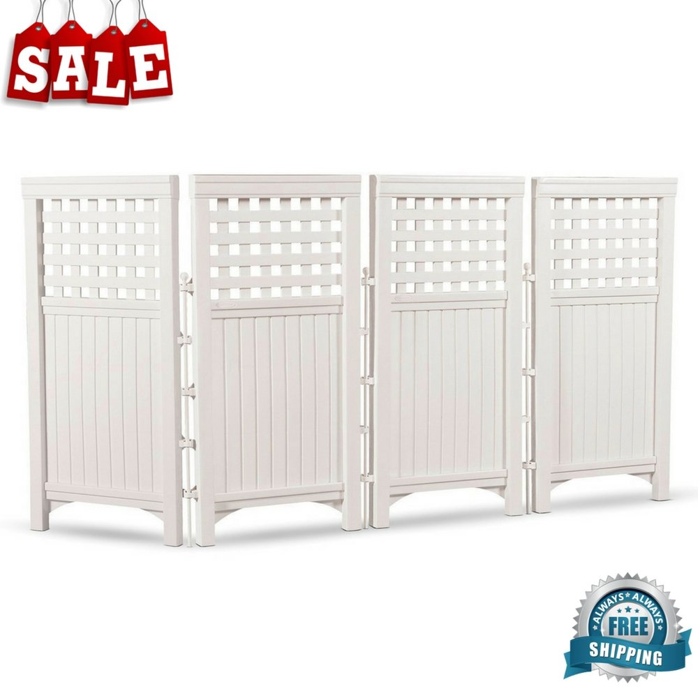 Outdoor Privacy Screen Concealer 4 Panels Patio Garden Screen Panel All-weather Space Divider Privacy Fence Decorative Outdoor Screening Galvanized Steel Posts & eBook by BADA shop
