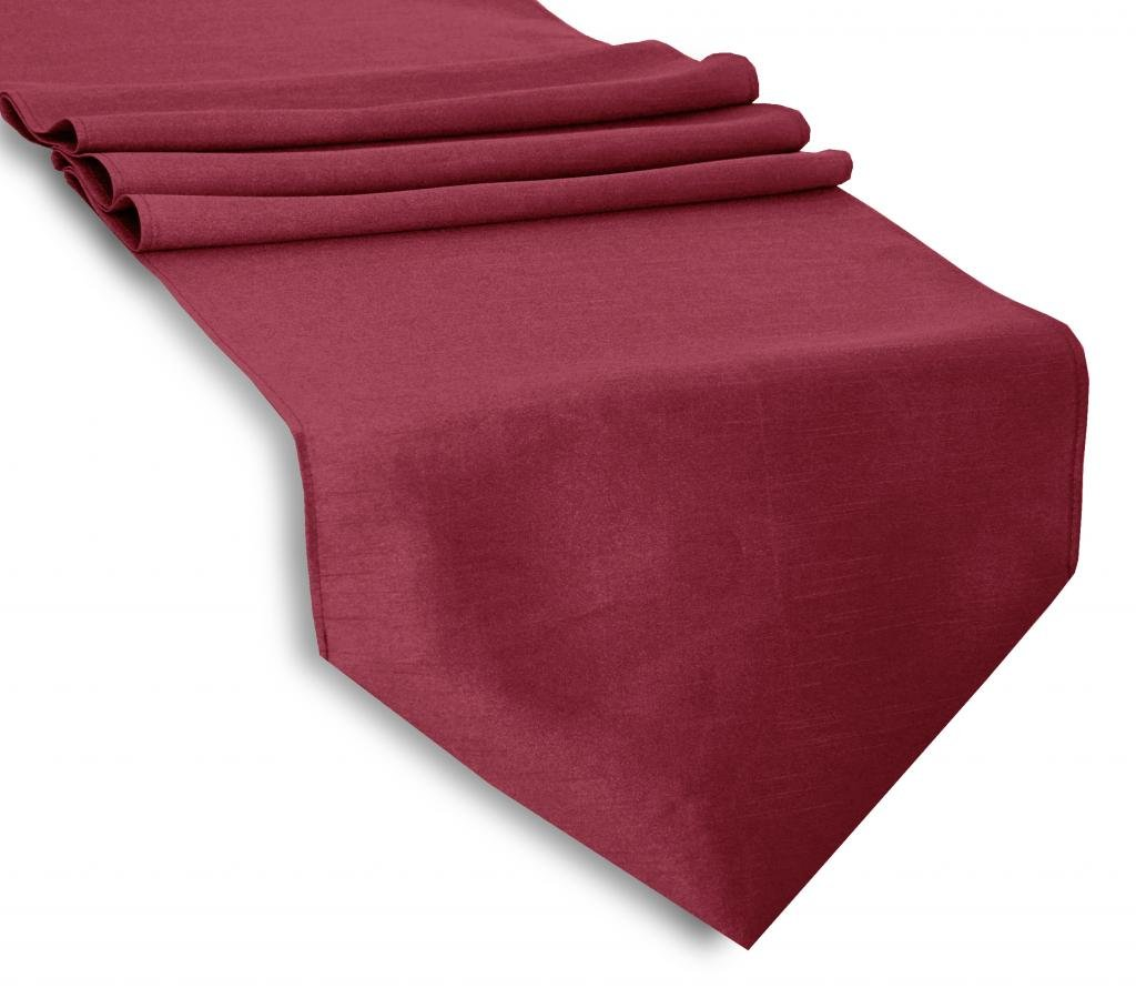 Aiking Home (Pack of 12)13''x 72'' -Solid & Unlined Classic Faux Silk Table Top Runner , Burgundy--Perfect for Party Decor, Baby Shower ,Wedding, Thanksgiving, Christmas or any Special Event