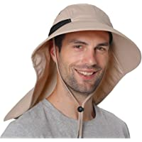 Lixada Fishing Cap Wide Brim Unisex Sun Hat with Neck Flap Adjustable Drawstring for Travel Camping Hiking Boating