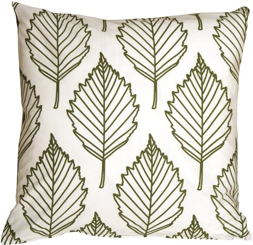 Pillow Decor - Contemporary Olive Green Leaf Throw Pillow