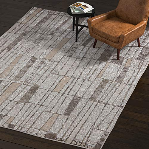 Rivet Polyester Area Rug, 8 x 11 Foot, Silver, Grey, -