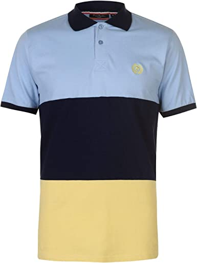 Pierre Cardin Hombre Large Block Camiseta Polo Deportiva Cielo/Azul Marino/Amarillo L: Amazon.es: Ropa y accesorios
