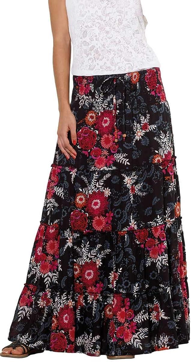 Coline Falda Larga Negra con Flores pequeñas. (Negro, Talla única ...