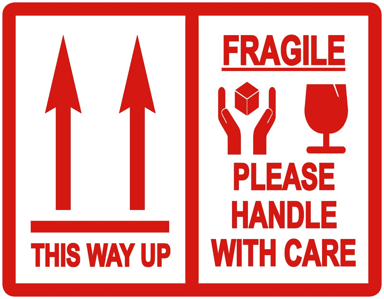 Confezione diThis way Up/fragile–si prega di maneggiare con cura 'Imballaggio adesivi/etichette adesive–Confezione di varie misure disponibili Audioprint Ltd