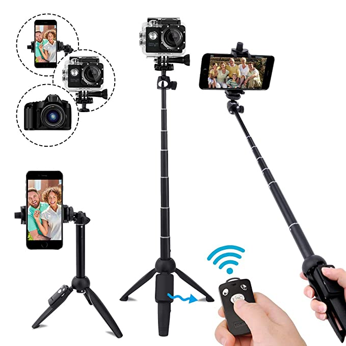 Selfie Stick Bluetooth,40 Inch Extendable Selfie Stick Tripod with Wireless Remote Control for iPhone 6 7 8 X Plus, Samsung Galaxy S9 Note8, Gopro,Digital Cameras