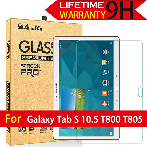 Galaxy Tab S 10.5 Screen Protector, (T800 T805) AnoKe [Tempered Glass] [Case Friendly] [0.3mm 9H] Clear Screen Protector Film Sheild For Samsung Galaxy Tab S 10.5 T800 Glass
