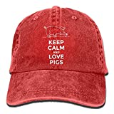 Men's/Women's Keep Calm and Love Pigs Denim Fabric Baseball Cap Adjustable Hat