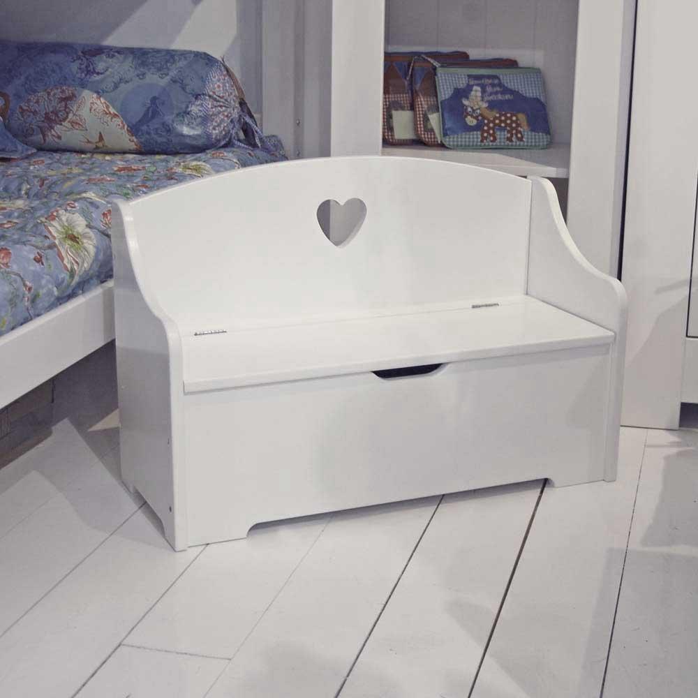 Banc des enfants COEUR II, blanc, avec compartiment de rangement ...
