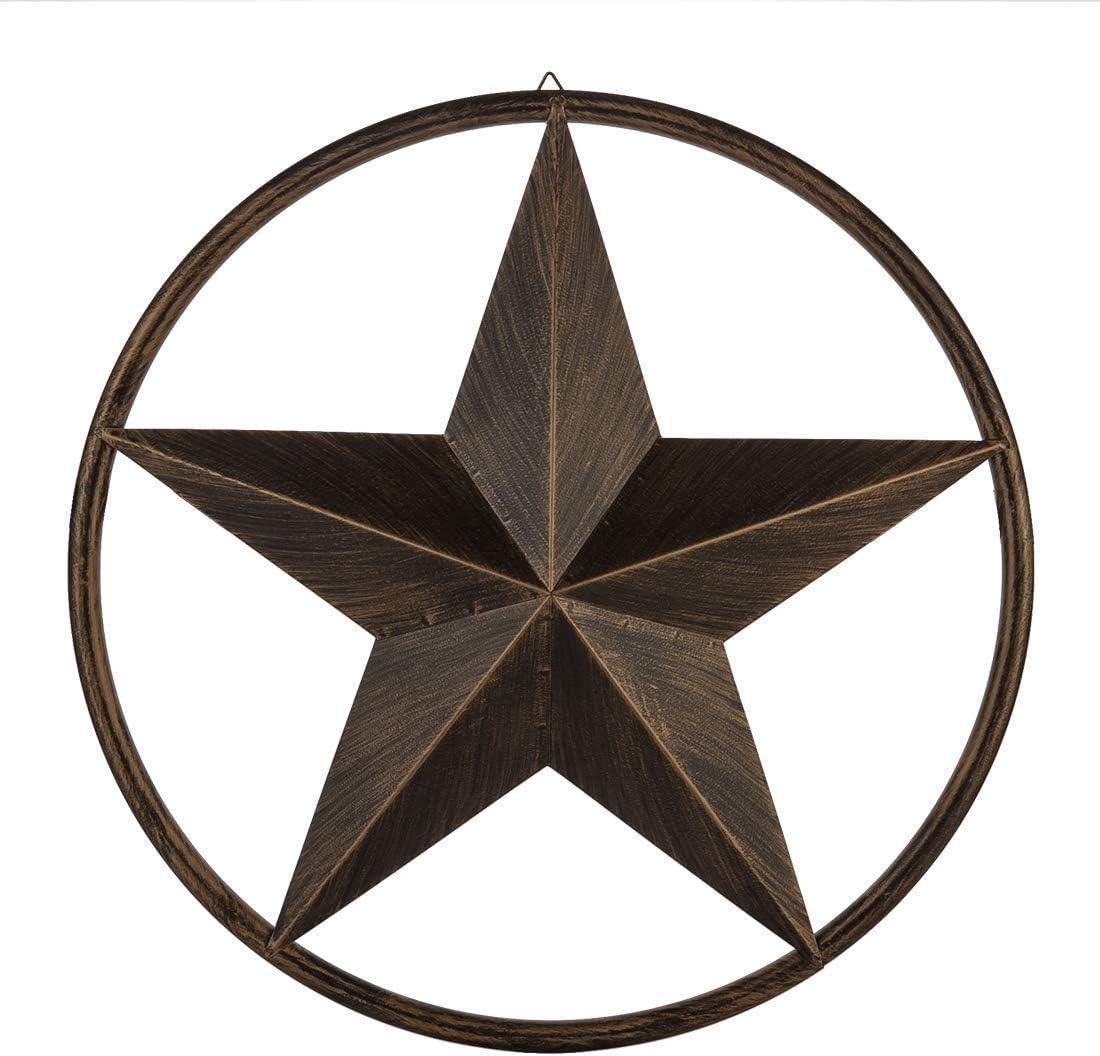 EBEI 31.5 Large Metal Barn Star Outdoor Vintage Metal Texas Lone Star Dark Brown Western Home Decor