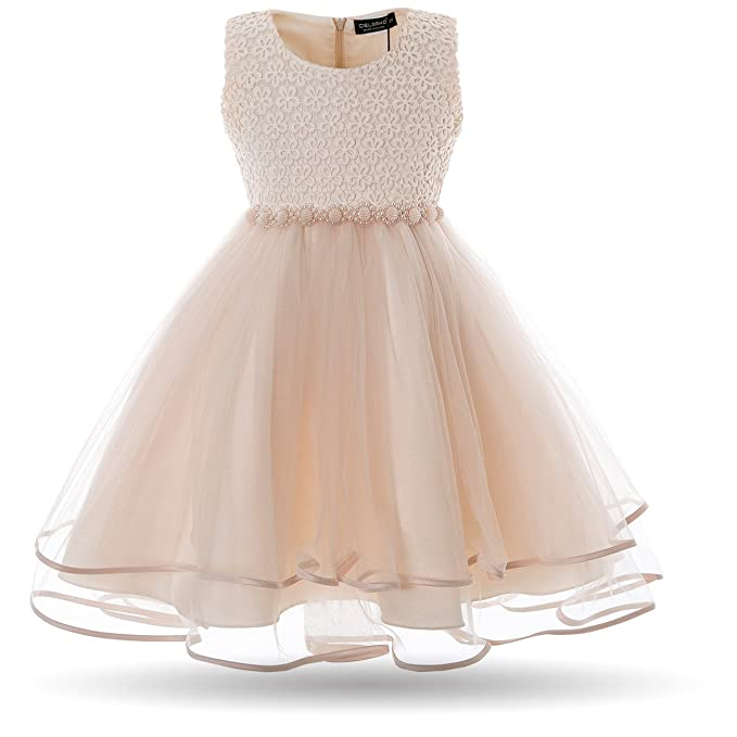 Cielarko Vestido Elegante de Gala Boda Fiesta para Niñas Amarillo 2-3 Años