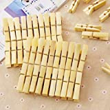 N M Z Bamboo Wooden Clothes Pins Clips for Clothing