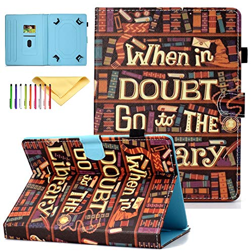 Universal 7.5-8.5 inch Tablet Case, Cookk Flip Stand Wallet Cases and Covers for iPad Mini 4 3 2 1, Samsung Galaxy Tab E, Tab S2, Tab A, Tab 4 3, Pad X2 8.0 Plus and More, Bookshelf (Samsung Galaxy S2 Bling Case)