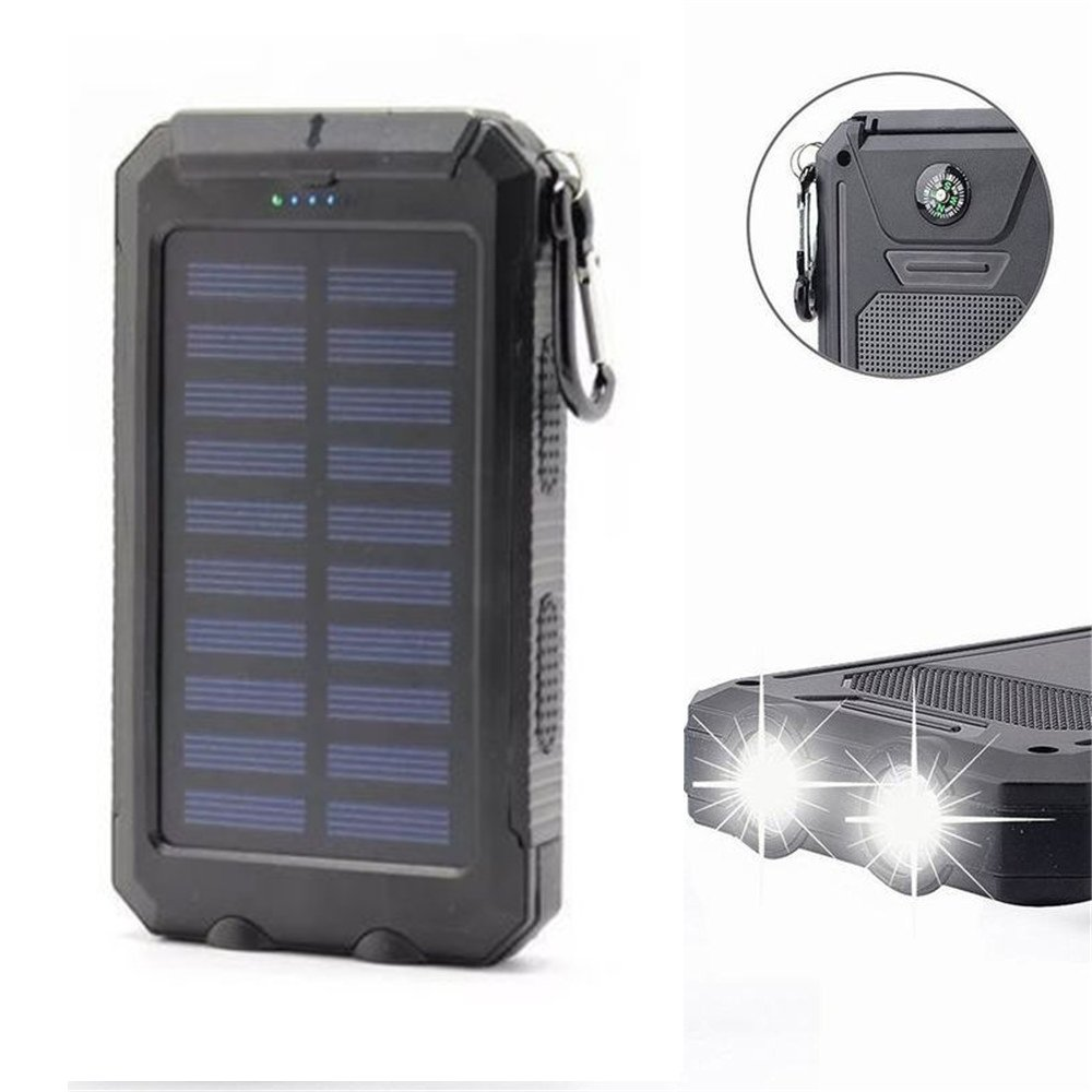20000mAh Solar Power Bank Solar Charger Waterproof Portable External Battery USB Charger Built in LED light with Compass for iPad iPhone Android Cellphones (Black)