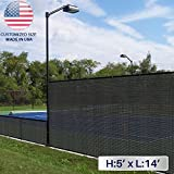 Windscreen4less 5' x 14' Solid Black Fence Privacy Screen Coated Polyester Mesh 80% Privacy (250GSM) -3 year limited warranty