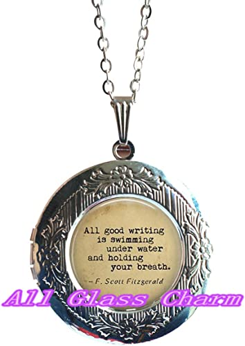 AllGlassCharm Charming Locket Necklace,Beautiful Locket Necklace,Quote All Good Writing is Swimming Under Water and Holding Your Breath.Quote Locket Pendant,Quote Locket Necklaces