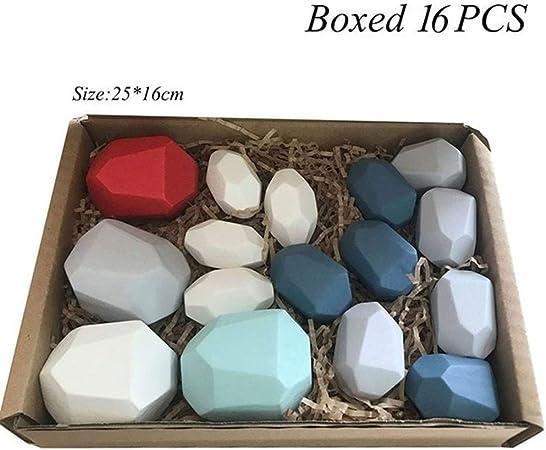 KDHJY Juguetes de Madera de Tonos de Madera Creativa del Jenga Bloque de Piedra de Color Juguetes educativos frío nórdico Estilo de apilamiento de Juegos for niños (Color : E Boxed 16pcs):