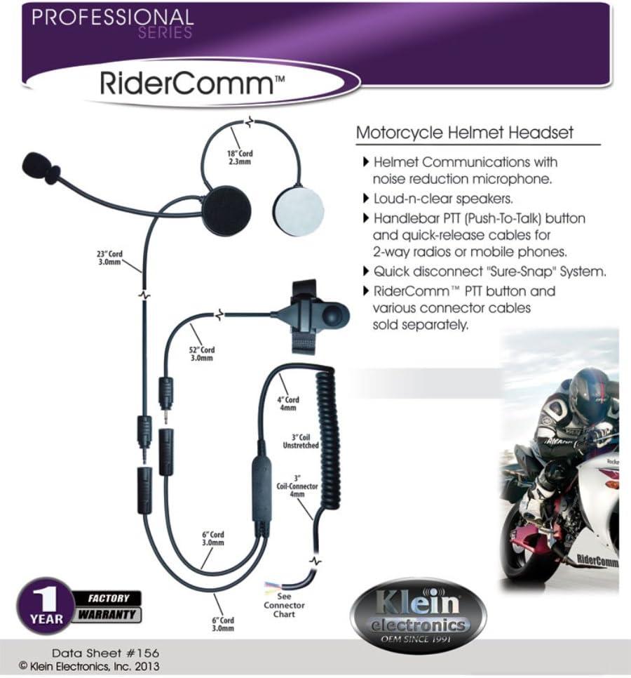 RiderComm Motorcycle Helmet Headset /& PTT for Kenwood Radios RiderComm-Kit-K1