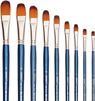 15 Piece Artist Paint Brush Set Flat /& Tipped Different Size /& Length Brushes