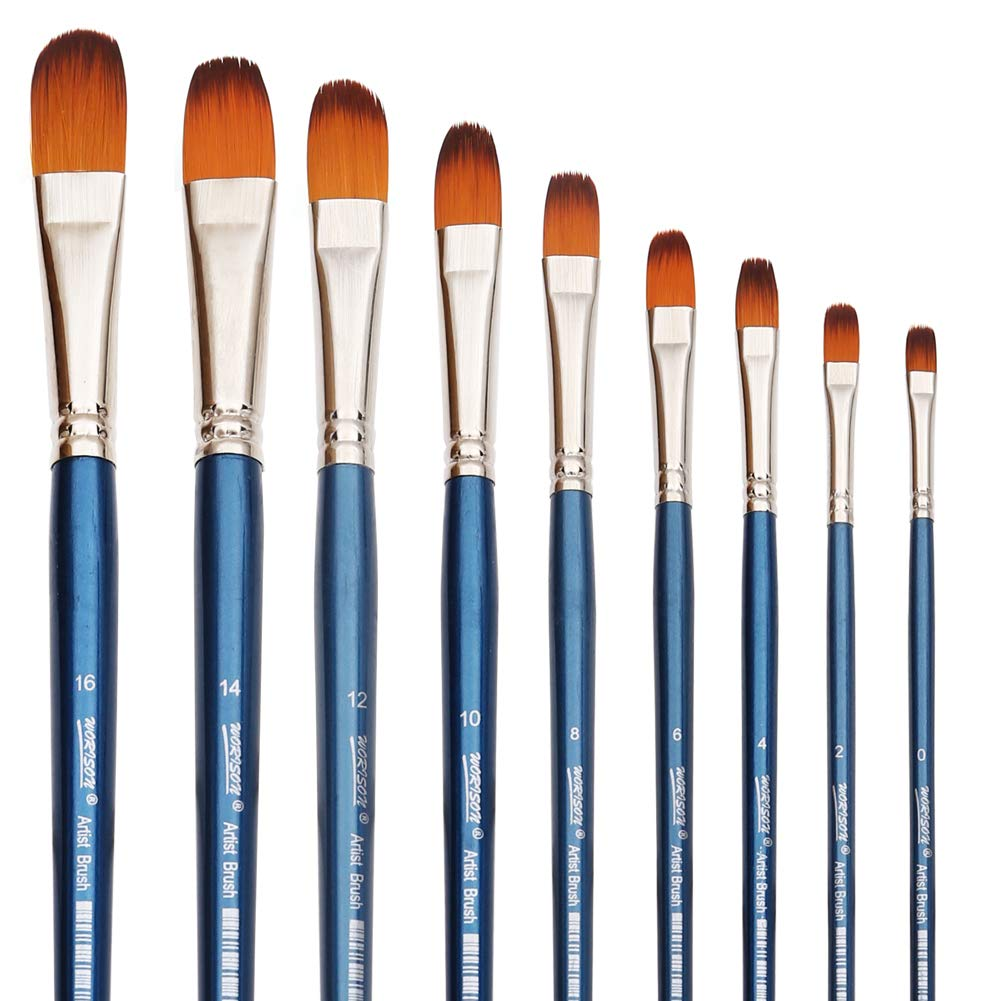 Filbert Paint Brushes Set, 9 Pcs Professional Artist Brush for Acrylic Oil Watercolor Gouache Painting Long Handle Brushes Nylon Hair by dainayw