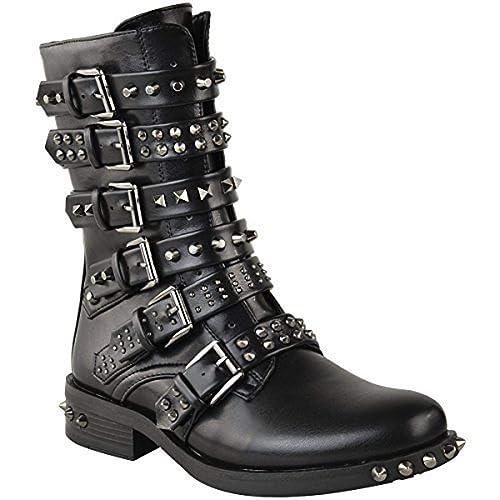 Fashion Thirsty Mujer Botines tachuelas Hebilla Biker Vaquero Tiras Zapato Plano Talla: Amazon.es: Zapatos y complementos