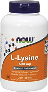NOW Supplements, L-Lysine 500 mg, Amino Acid, 250 Tablets