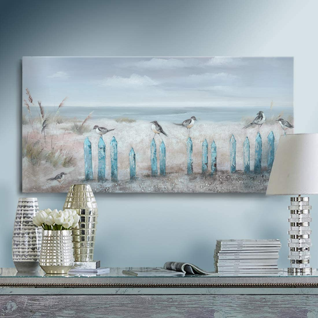 Ocean Beach Wall Art 3D Framed Hand-Painted Seascape Oil Painting Perching Bird Canvas Artwork 'The Tranquility by The Sea Shore' for Living Room Bedroom Décor Coastal Blue 16x32inch