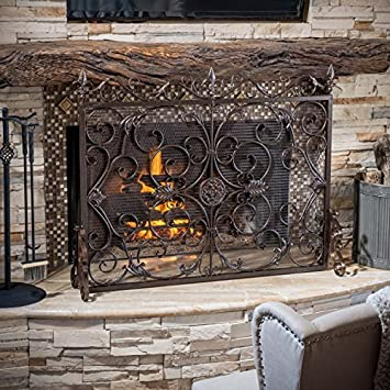 Perfect Darcie Black Brushed Gold Finish Wrought Iron Fireplace Screen