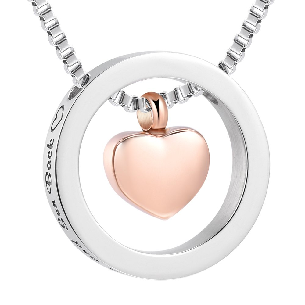 I Love You to The Moon and Back Necklaces Cremation Memorial Urn Pendant Ashes Jewelry (Rose Gold)