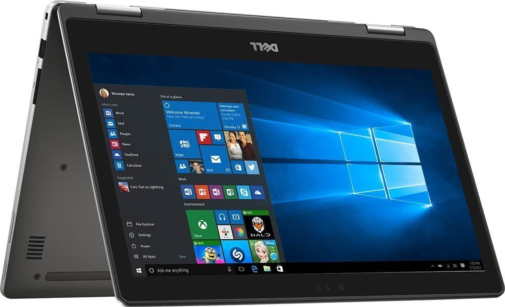 "2017 Dell Inspiron 7000 13.3"" 2-in-1 Full HD Touchscreen Convertible Laptop, 7th Intel Core i5-7200u, 8GB DDR4 RAM, 256GB SSD, Backlit Keyboard, Bluetooth, HDMI, 802.11AC, Windows 10-Silver"