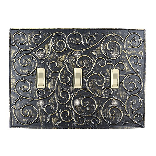 Meriville French Scroll 3 Toggle Wallplate, Triple Switch Electrical Cover Plate, Pompeii Gold