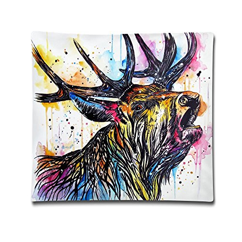 Kjaoi 1818 Inches Pillow Case Colorful Stag Cried Comfortable Soft Bed Pillow Case Household Pillow Case Office Bolster ()