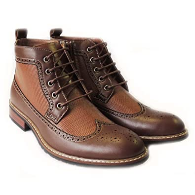 6b218e2d77f Amazon.com | Ferro Aldo Mens Ankle Boots LACE UP Wing TIP Leather ...