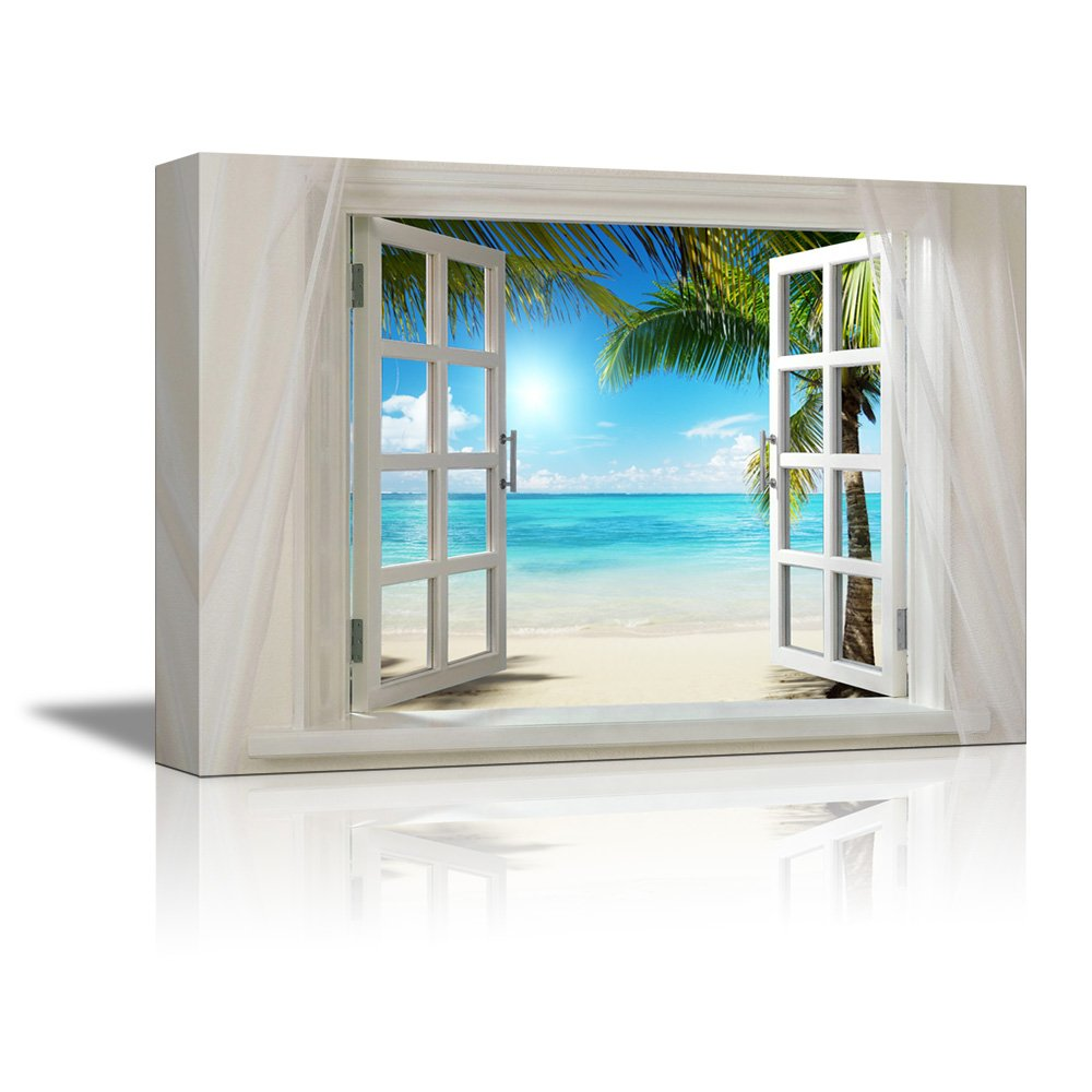 Open window beach - Wall26glimpse Into Sunshine And White Beach Out Of Open Window Canvas Wall Art Stretched Canvas Prints 24 X 36