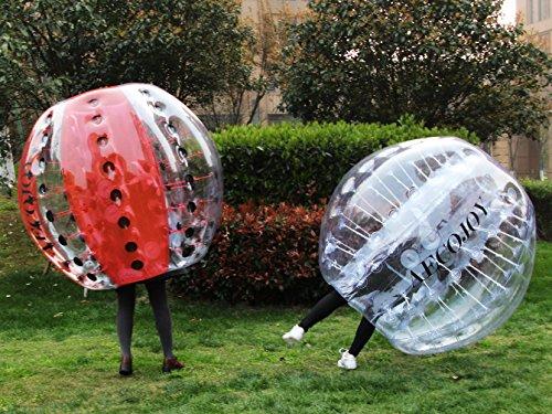 AECOJOY 2pcs 5FT Inflatable Bumper Ball 1.5m Human Knocker Bubble Soccer Balls (Clear with Blue dot)