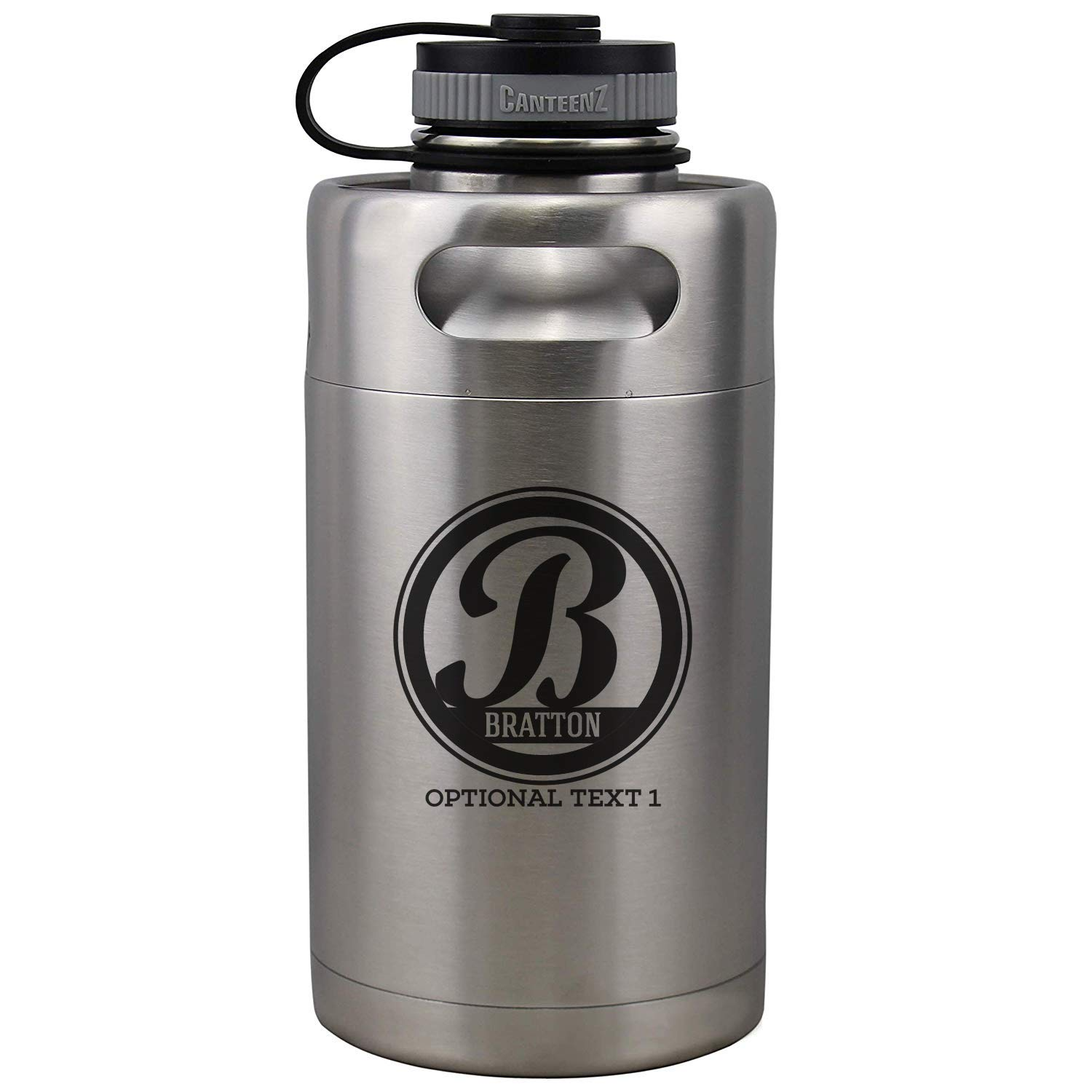Personalized Etched Monogram Insulated Beer Growler 64oz Keg