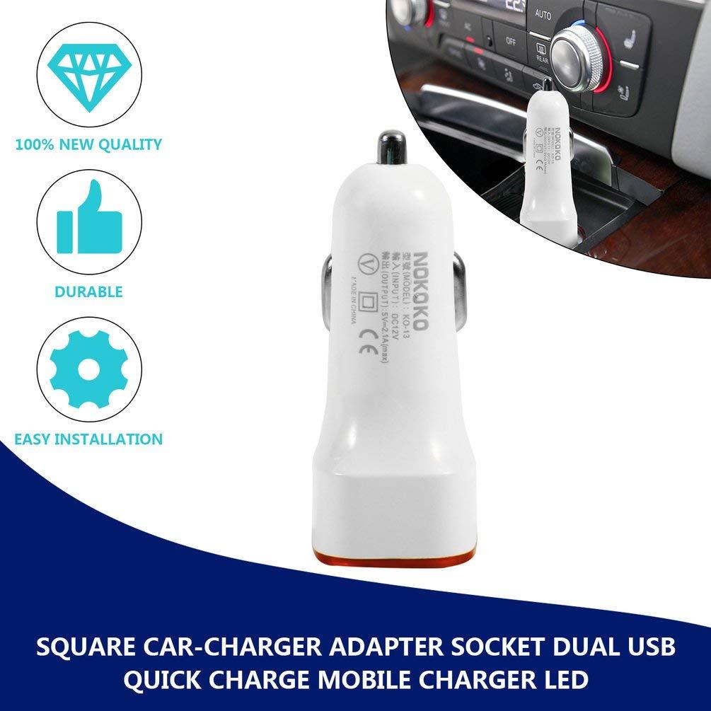 Carr/é Adaptateur Allume-Cigare Prise 2.1A 1A Dual USB Charge Rapide Chargeur Mobile mont/é sur v/éhicule Voyants 5 Couleurs