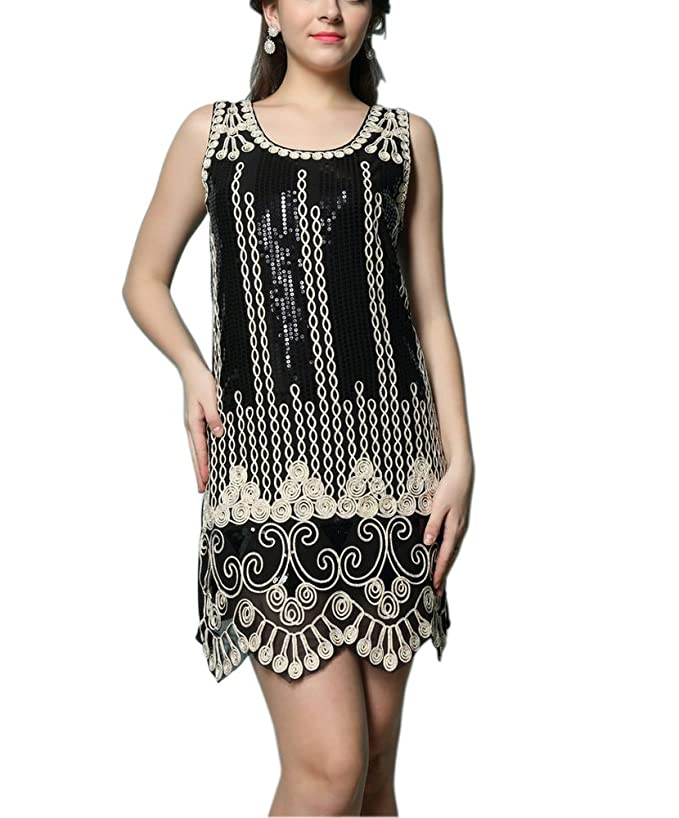 1920s Plus Size Dresses & Quality Costumes Whitewed Art Deco Scoop Vintage Sequin 20s Great Gatsby Costumes Dress Flapper $31.99 AT vintagedancer.com