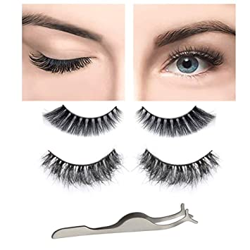 d4f9e560683 Amazon.com : Professional Makeup Fake Eyelashes 3D Mink Reusable False  Lashes Crisscross Deluxe Natural Messy Thick Long 2 Pairs 2 Styles Lashes  with False ...