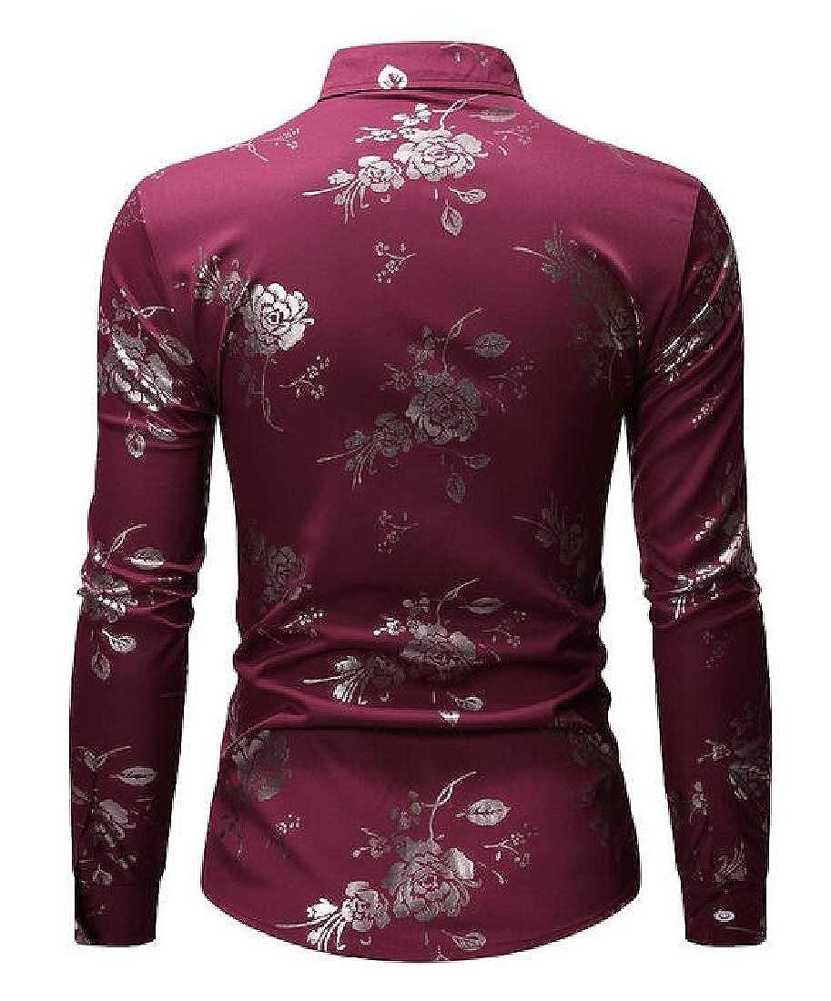 Spirio Men Lapel Slim Fit Print Formal Long Sleeve Button Up Dress Shirt