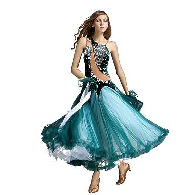 a7440877 Women Sequins Stone Velvet Big Swing Standard Competition Ballroom Dress  (S, Dark Green)