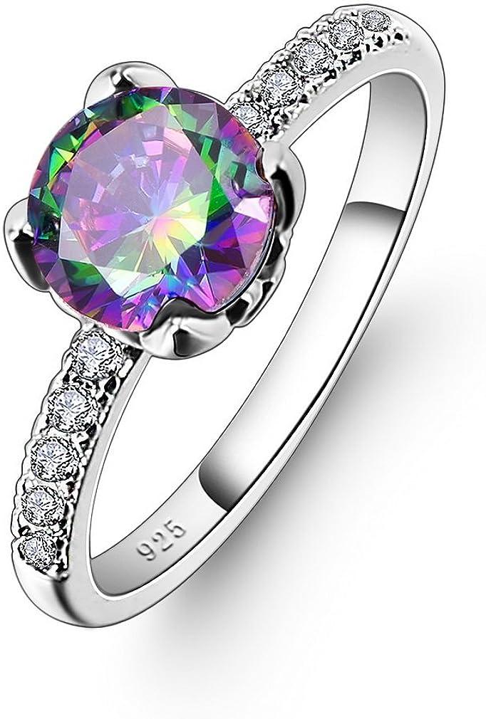 YAZILIND Promise Elegant Ring Pretty Cubic Zirconia Platinum Rhinestone Plateado Compromiso de la Boda para Las Mujeres