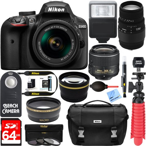 Nikon D3400 24.2 MP DSLR Camera + (18-55mm VR Nikon & 70-300mm SLD DG Sigma Lens Package, Black) + Bundle 64GB SDXC Memory + Photo Bag+Wide Angle Lens + 2x Telephoto+Flash + Remote + Tripod + Filters by Beach Camera