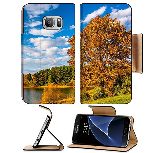 Luxlady Premium Samsung Galaxy S7 Flip Pu Wallet Case Image Id  25228020 Autumn Tree And View Of Lake Marburg At Codorus State Park Pennsylvania