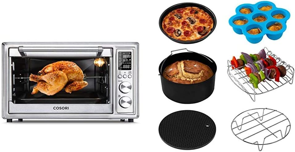 COSORI CO130-AO Air Fryer Toaster Oven Combo 12-in-1, 100 Recipes & 6 Accessories Included, 30L/31.7 QT, Silver & Accessories XL (C158-6AC) Set of 6 Fit all 5.8Qt, 6Qt Air Fryer, Black