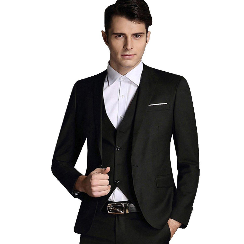 LIANIHK Slim Fit 3-Teilig Business Herrenanzug Smoking Blazer+Hosen+Weste