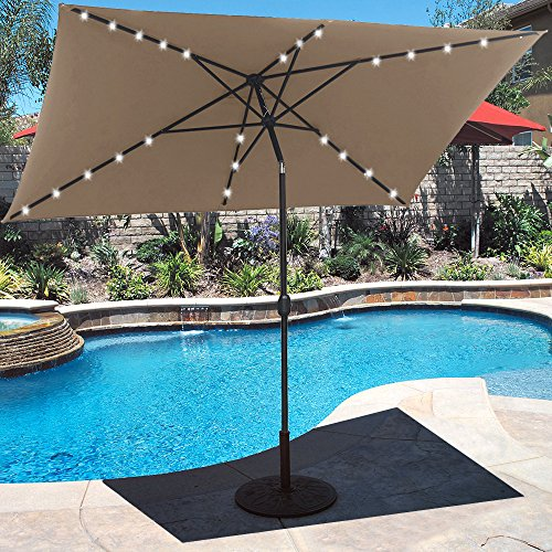 10 ft Solar Powered Patio Umbrella 26 LED Lights with Push Button Tilt Adjustment and Crank System 6 Rib Steel Pole Deluxe Outdoor Market Table Backyard Deck Poolside Polyester Tan (3 Light Belle)