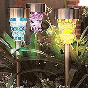 ZLZH 3 pack Solar Lights Outdoor, Garden Pathway Light Bight 8 Lumen 3 Color Mosaic Lampshade White LED Stainless Steel Landscape Lighting for Path Walkway Driveway Patio Yard