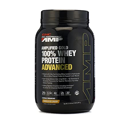 GNC AMP Amplified Gold 100% Whey Protein Advanced - 1.96 lbs, 0.89 Kg (Vanilla Ice Cream) Whey Proteins at amazon